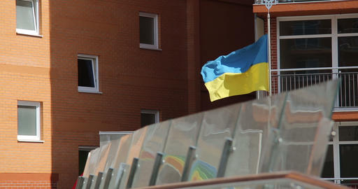 Ukrainian flag is fluttering in the wind Footage