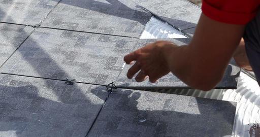 Construction. Man Puts Tile. Close Up stock footage