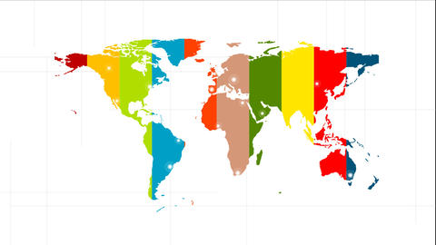 Colorful World Map Video Animation With Labels stock footage