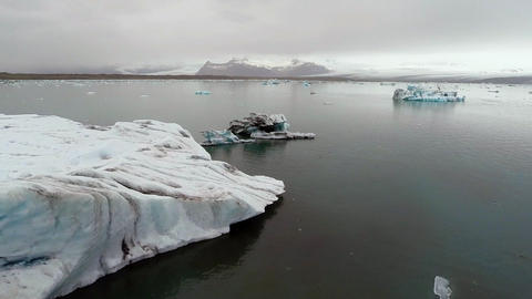 AERIAL VIEW GLACIER ICEBERGS Footage