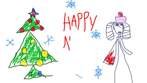 Child's Drawing New Year Card stock footage