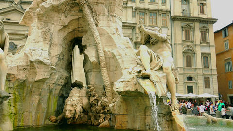 Fountain of the Four Rivers is a fountain in the Piazza Navona in Rome, Italy Footage