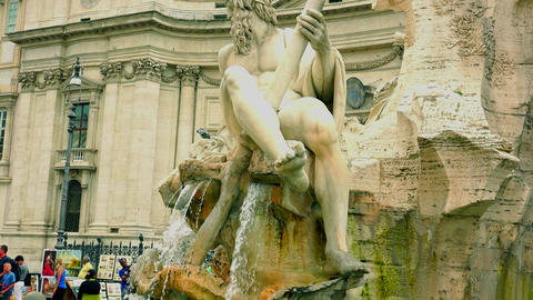 Rome, Italy-circa 2015:fountain in the Piazza Navona;ULTRA HD 4K, real time Footage