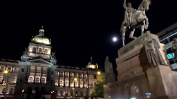 PRAGUE, CZECH REPUBLIC - MAY 30, 2015: Prague - Wenceslas Square - night - urban Footage
