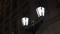 Night Urban Street - Lamp - Night Exterior Vintage Building - High Contrast stock footage