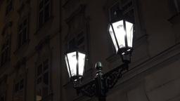 night urban street - lamp - night exterior vintage building - high contrast Footage