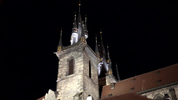 Church of Our Lady before Tyn - night - shot from side Footage