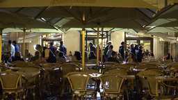 PRAGUE, CZECH REPUBLIC - MAY 30, 2015: Night Restaurant In The City - Outdoor Se stock footage
