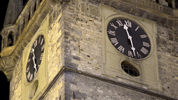 The Old Town Hall - Night - Clock Closeup (detail) stock footage