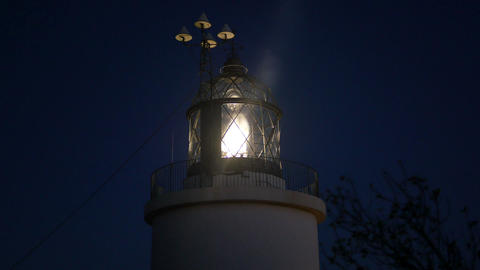 Maritime Lighthouse Flashing at Night Footage