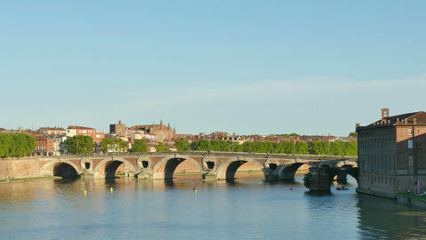 Toulouse Panoramic View Of The Garonne River 4k stock footage