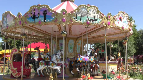 Carousel For Children stock footage