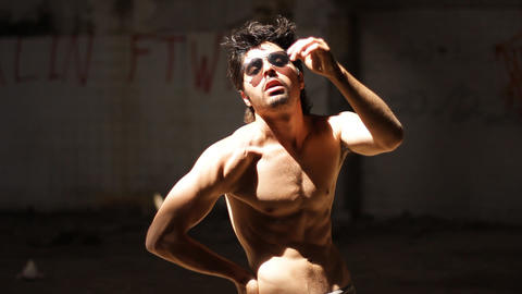 handsome body modeling sexy glasses portrait posing fashion macho looking body Live Action