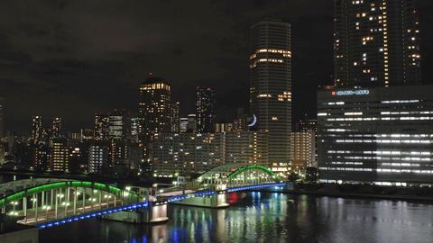 Time lapse from Tokyo City,Sumida river and Kachidoki Bridge Stock Video Footage
