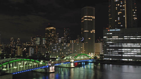 Time lapse from Tokyo City,Sumida river and Kachidoki Bridge Stock Video Footage