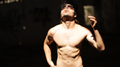handsome body modeling sexy glasses portrait posing... Stock Video Footage
