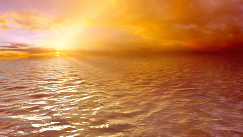 Looped Sea Sunset (HD) Stock Video Footage