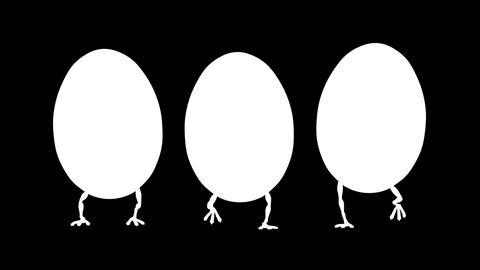 Walking Eggs Front Loop (HD 30 fps + Alpha) Stock Video Footage