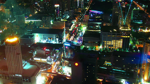 Bangkok streets at night from top view. Timelapse Stock Video Footage
