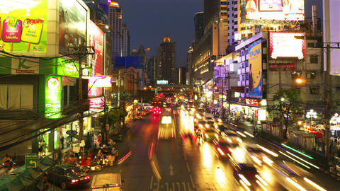 Bangkok at night. Timelapse in motion Stock Video Footage