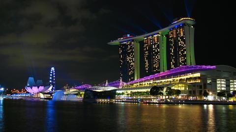 Marina bay sands night, Singapore, timelapse Stock Video Footage