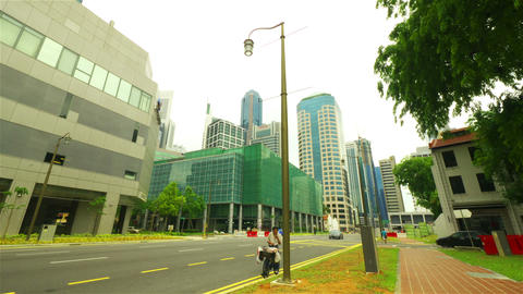 Singapore street. Timelapse in motion Stock Video Footage
