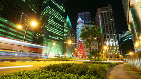 Singapore at night, timelapse in motion Stock Video Footage