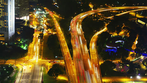 Singapore junction at night, timelapse Stock Video Footage