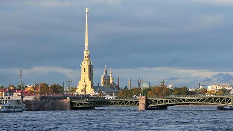 Palace Bridge and Kunstkamera Footage