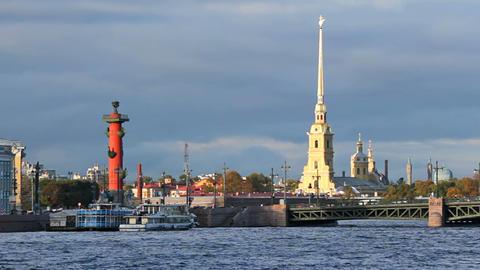 Palace Bridge and Kunstkamera Stock Video Footage