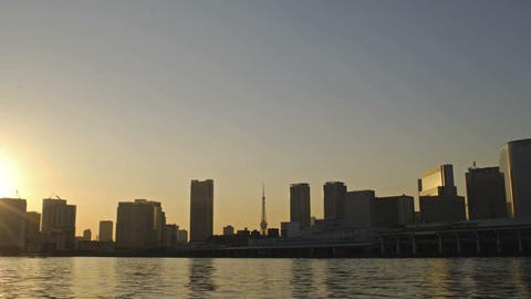 Time Lapse from Tokyo City,Sumida River and Tokyo... Stock Video Footage