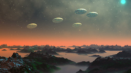 UFO in the sky of a fantastic planet Stock Video Footage