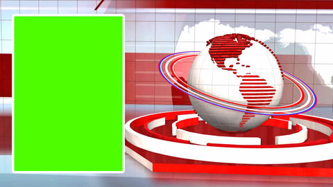 News Broadcast Background World Animation Green Screen Footage