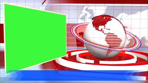 News Broadcast Background World Animation Green Screen Blue Line Animation