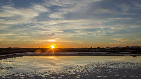 4K Sunset Olhao Ria Formosa Salt Pan Tilt Footage