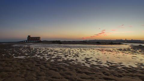 4 K Timelapse Fuseta Ria Formosa Dusk and Tide Tilt Footage
