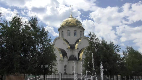 The Orthodox Church and a fountain Footage