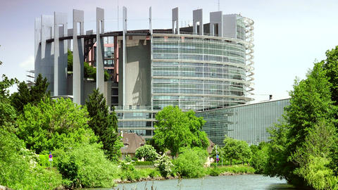 STRASBOURG, FRANCE: Exterior of European Parliament in Wacken district of Strasb Footage