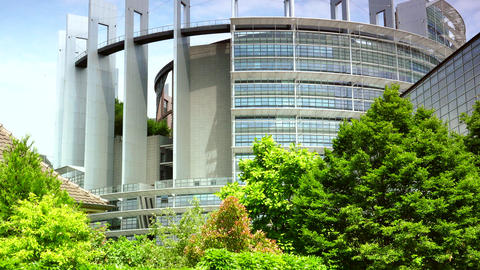 STRASBOURG, FRANCE: Exterior Of European Parliament In Wacken District Of Strasb stock footage
