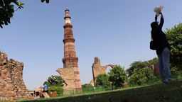 Qutub Minar, UNESCO World Heritage Site, Delhi stock footage