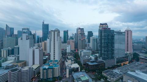 Makati - Manila, Philippines, Day To Night Timelapse stock footage