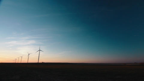 Wind Turbines Far View Sunset Live Action