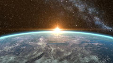 Sunrise over the Earth and Fall into the Sea Animation