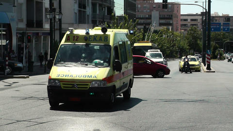 ambulance οn the road moves towards emergency hospital Footage