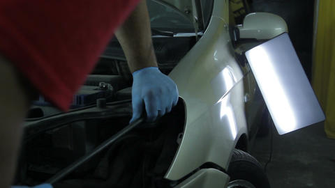 service station: straightening the car without painting - Auto Body Repair Footage