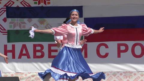 Girls perform folk dance Footage