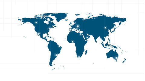 Blue world map video animation with labels Animation