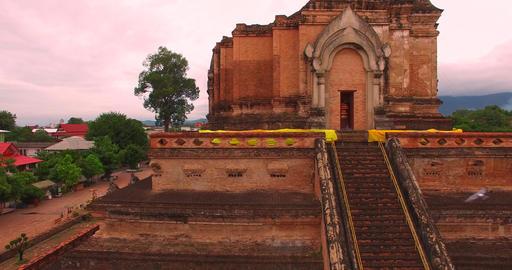 aerial crane shot of Wat Chedi Luang Footage