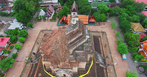 aerial rising birds eye of Wat Chedi Luang temple Footage