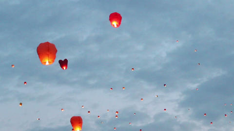 flying chinese lanterns Footage